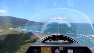 Glider Flying POV Over Raglan New Zealand
