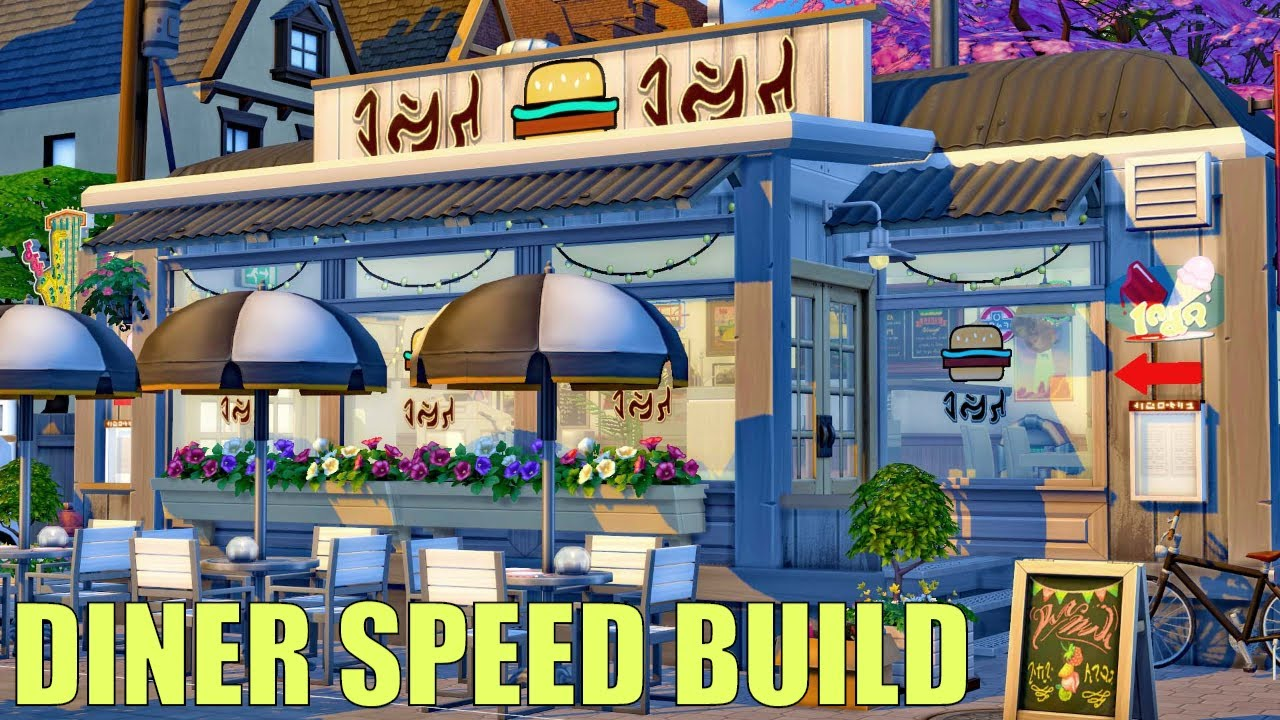 I Built a Cozy Diner in Sims 4 🍔 no CC Speed Build