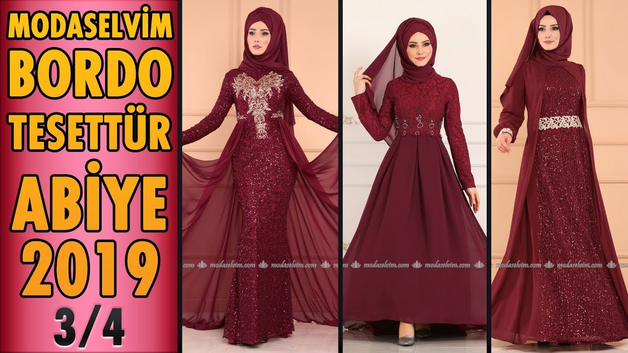 934b224d81584 #Modaselvim #Bordo #Tesettür Abiye #Elbise Modelleri 2019 - 3/4 | #Hijab  Evening Dress | claret red - modanzi tesettür - thtip.com