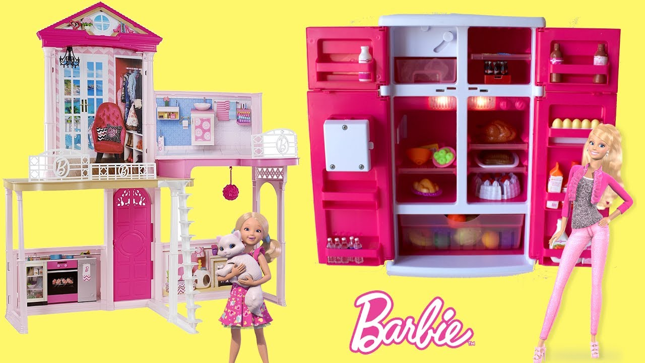 Barbie Dreamhouse U0026 Fun Food Fridge , Play Dollhouse Fridge Kitchen Toys  芭比豪宅