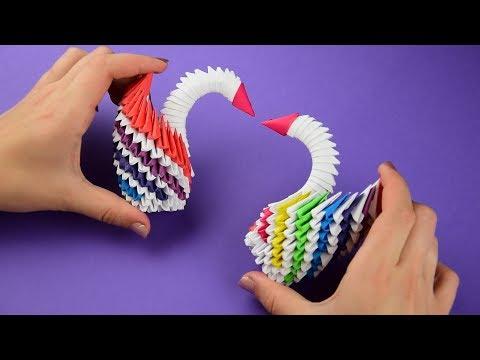 Как сделать изумительного лебедя из бумаги (оригами из модулей). Пошаговая сборка, мастер класс.