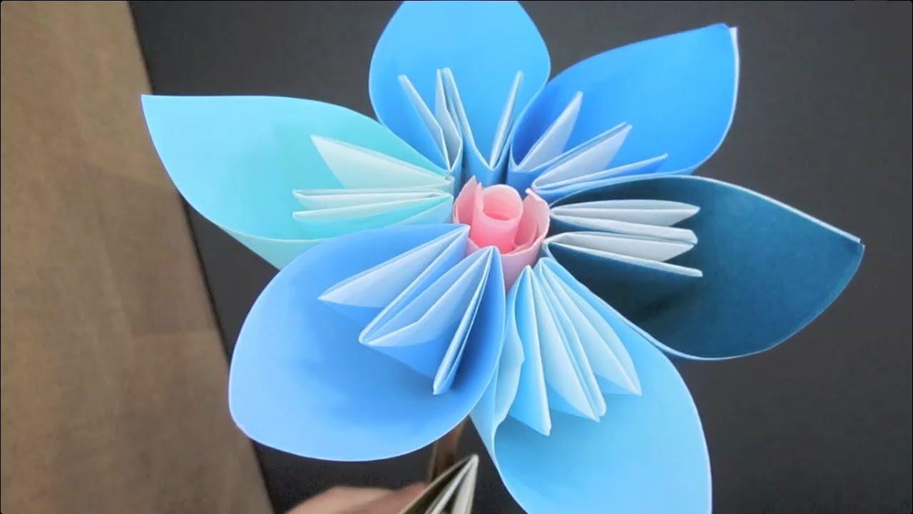 Diy origami paper flower francinemarie youtube mightylinksfo