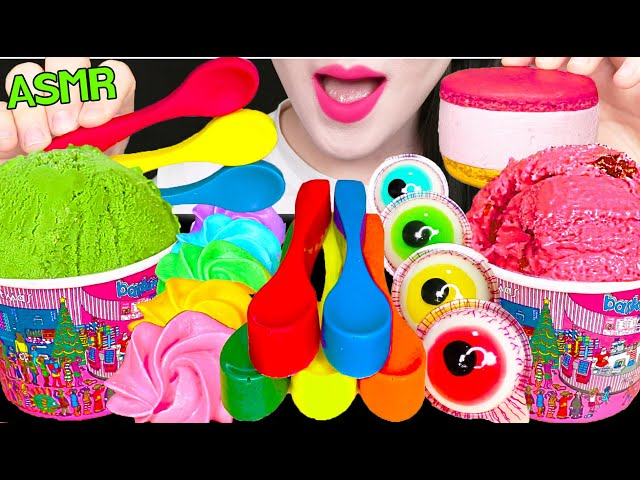 ASMR EDIBLE SPOON, ICE CREAM, MACARON ICE CREAM, EYEBALL GUMMY 먹는 숟가락, 아이스크림, 젤리 먹방 EATING SOUNDS