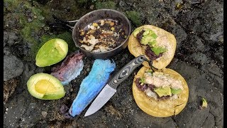catch and cook in the rain on the rocks most delicious fish tacos