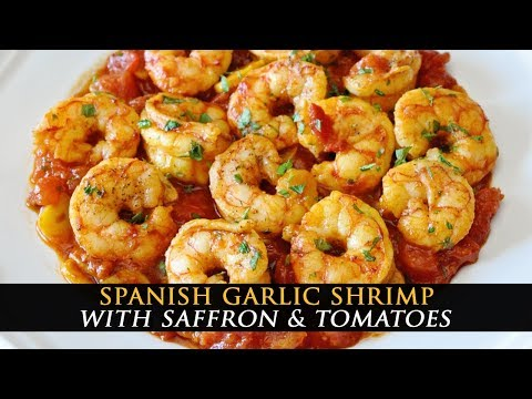 spanish-tapas-101:-garlic-shrimp-with-saffron,-tomatoes-&-wine