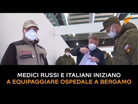 Medici russi e italiani iniziano a equipaggiare ospedale a Bergamo