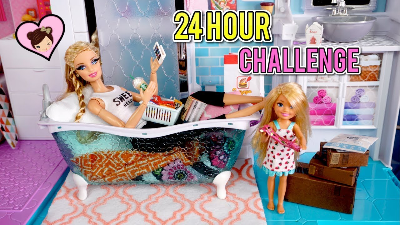 Barbie Doll 24 Hour Challenge Overnight In Her Pink
