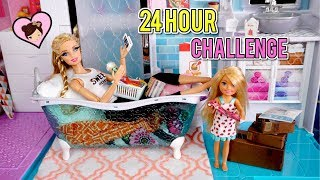 Barbie Doll 24 HOUR Challenge Overnight in her Pink Bathroom