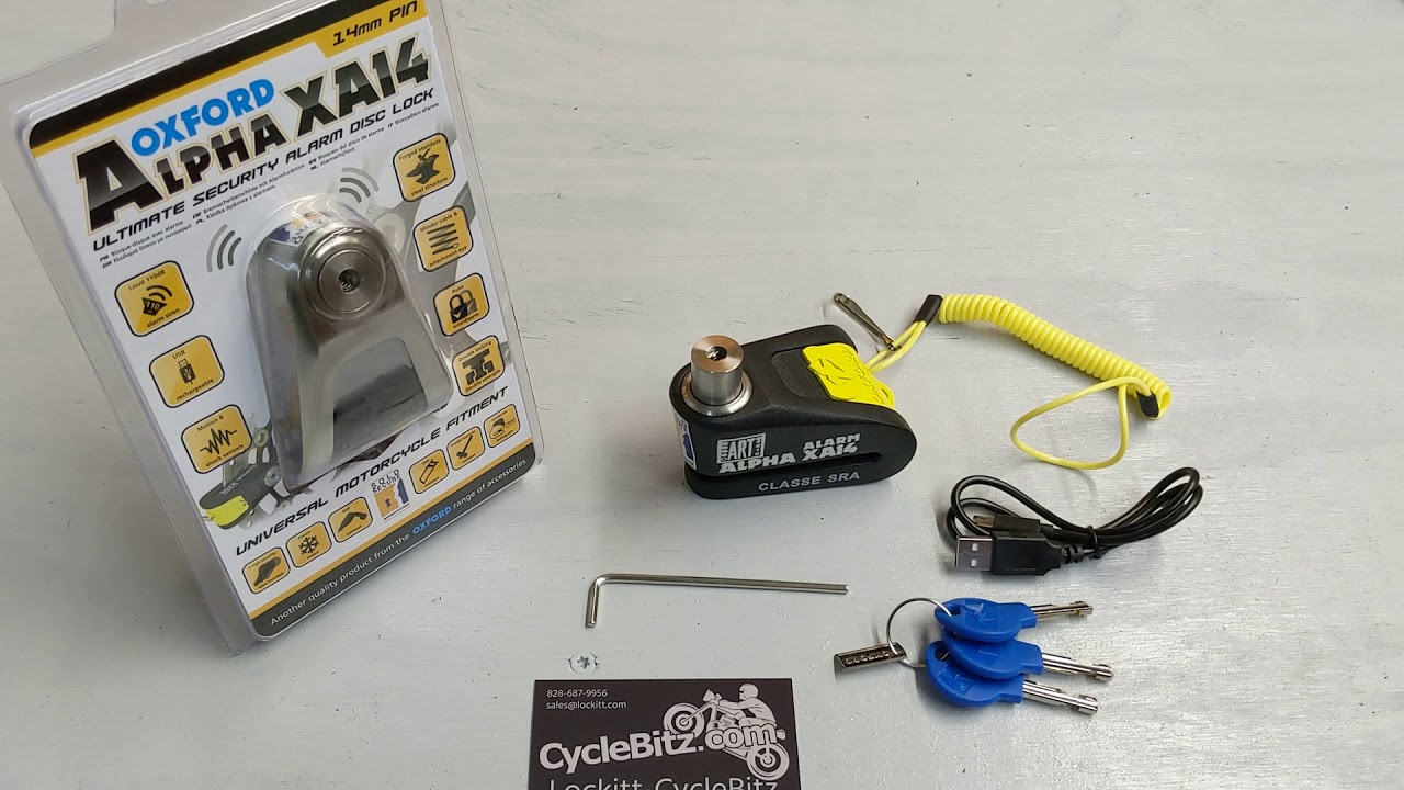 Oxford ALPHA XA14 Alarmed Motorcycle Brake Disc Lock Stainless USB rechargeable