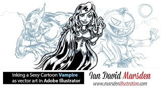 How to Draw a Sexy Female Vampire Tutorial: Inking Vector Cartoon Art in Adobe Illustrator