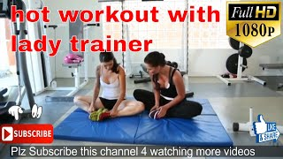 hot workout with lady trainer | gym trainer | gym workout for beginners | hot fitness girls workout