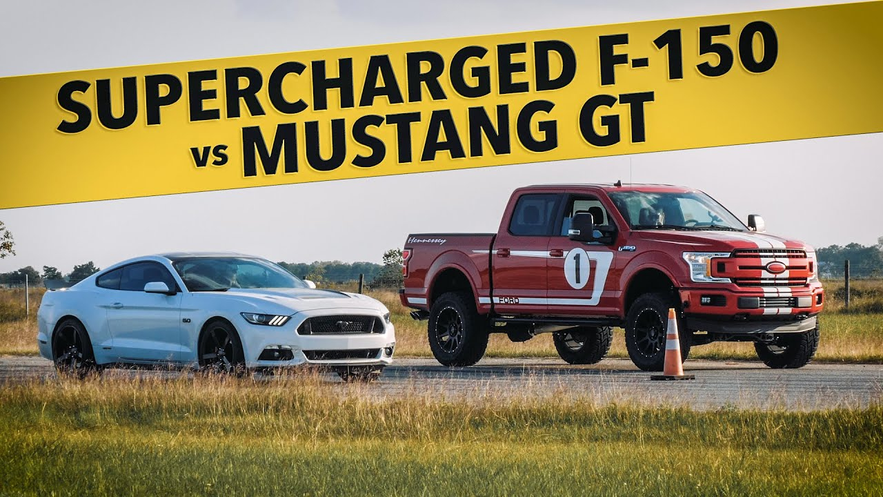 Supercharged F-150 vs Mustang GT! // Drag Race Comparison