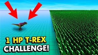 UEBS - 1 HP T-REX CHALLENGE VS 100,000 ZOMBIES! (Ultimate Epic Battle Simulator / UEBS Gameplay)