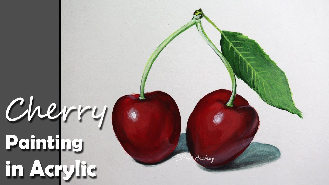 How to Paint cherries in Acrylic  YouTube