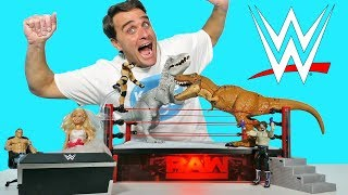 WWE Elite Raw Main Event Ring + Jurassic Park Dinosaur Battle ! || Toy Review || Konas2002