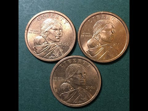 United States 2000 And 2001 Sacajawea One Dollar Coin