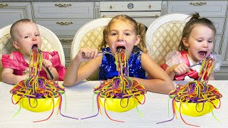 Five Kids Colored Noodles Song + more Children's Songs and Videos