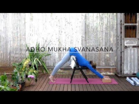 Yoga Asana How To: Adho Mukha Svanasana with Chair. Chair Yoga. OnlineYogaTeaching.com