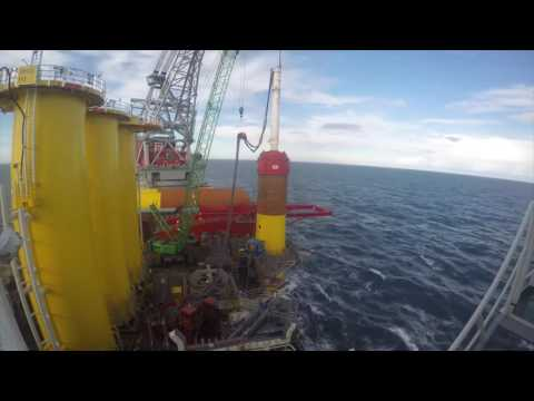 Installing foundation on UK Dudgeon offshore wind farm