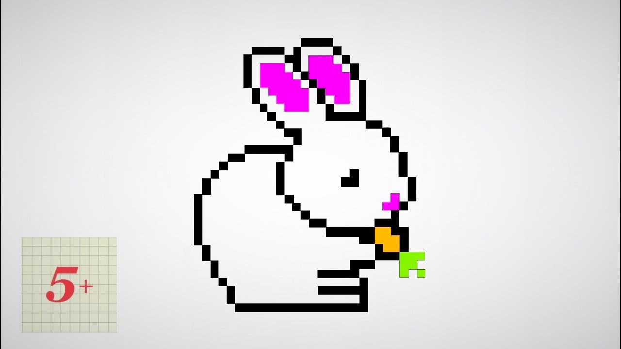 помогает нарисовать рисунок зайца по клеточкам карманы