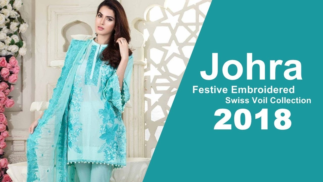 8287e678eb Johra Festive Embroidered Swiss Voil Collection 2018 - YouTube