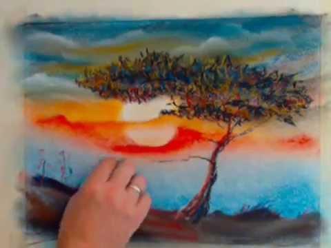 Дерево пастелью поэтапно