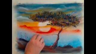 Как нарисовать дерево сухой пастелью. Валерий Смирнов