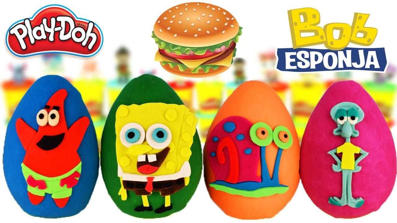 Huevos Sorpresas Gigantes BOB ESPONJA Patricio Calamardo Gary de Plastilina Play Doh en Español