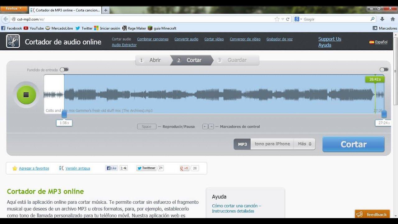 Como Cortar Una Parte De Una Cancion O De Un Audio Sin Programas Videotutorial Youtube