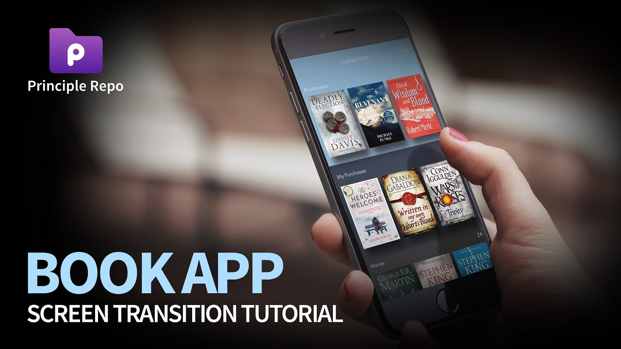 book app screen transition tutorial with principle
