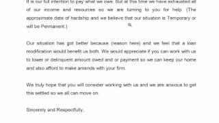 Loan Modification, hardship letter