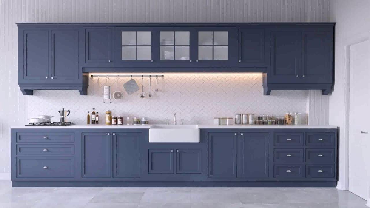 White Kitchen Cabinets With Dark Blue Walls Youtube