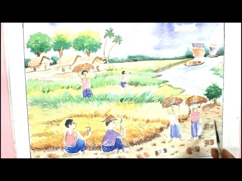 How TO Draw Scenery OF Late Autumn Step by Step/Draw Beautiful Scenery of Landscape with Watercolor