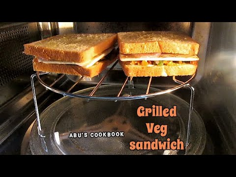 Grilled veg sandwich recipe in ifb microwave oven  | cheesy veg sandwich | oven grilled sandwich