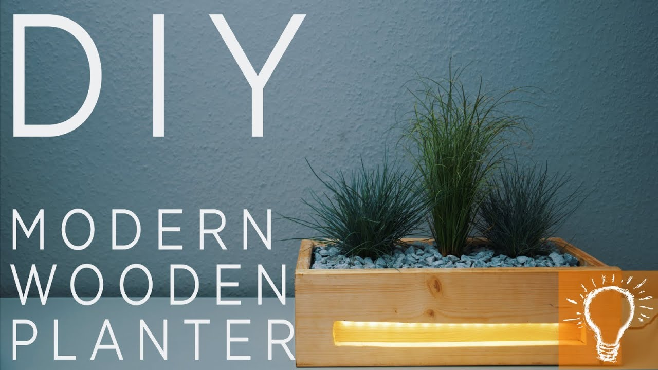Diy Modern Wooden Led Planter Youtube