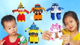 Colors Song, Van and Nam Pretend Play with Robocar Poli Learn Colors for Children, BaBiBum
