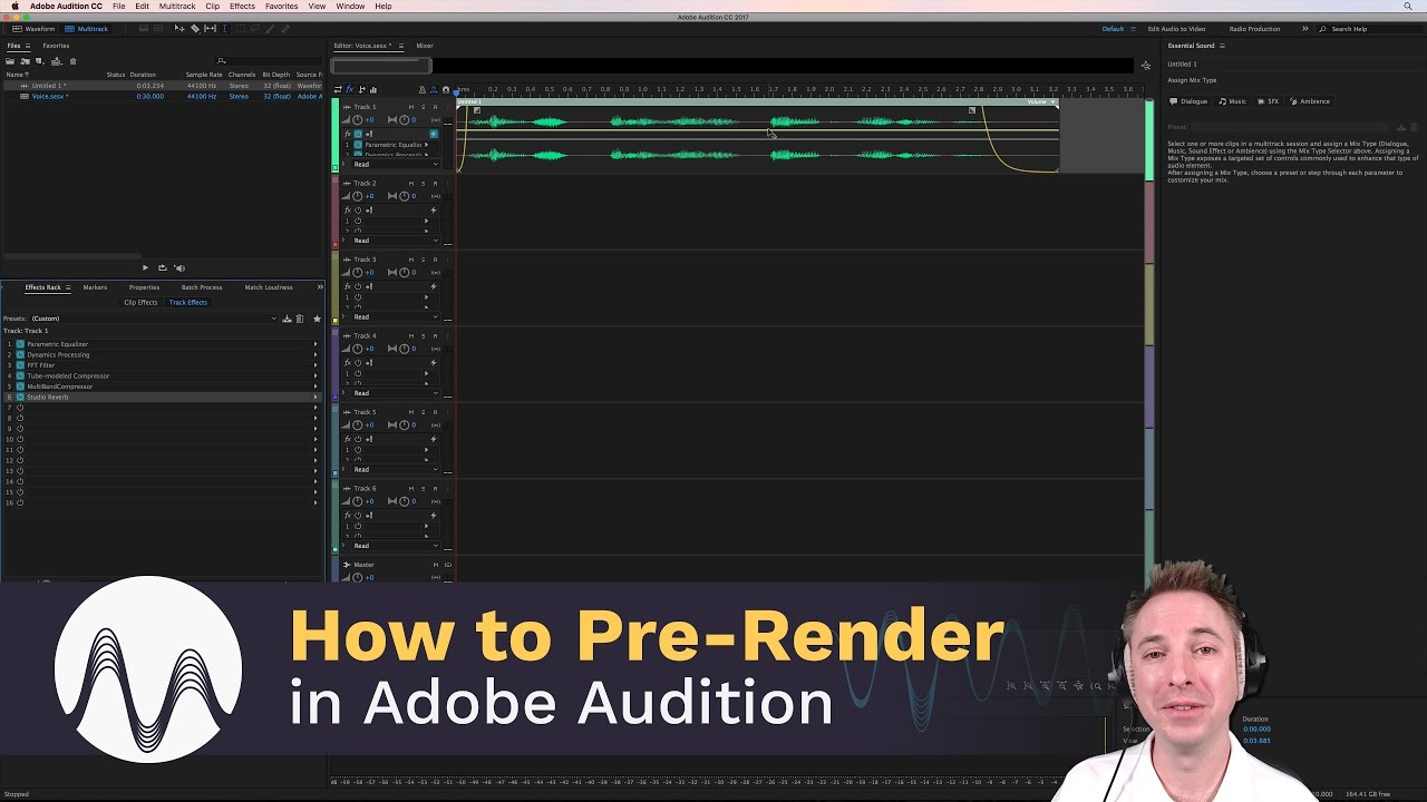 how to pre render the effects rack in adobe audition youtube. Black Bedroom Furniture Sets. Home Design Ideas