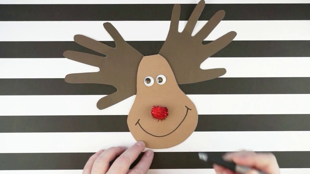 card craft ideas free handprint reindeer card kid craft 3503