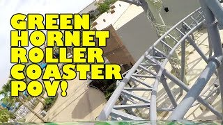 Green Hornet High Speed Chase Roller Coaster Front Seat POV Motiongate Theme Park Dubai UAE