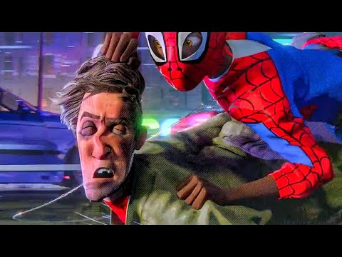Cemetery Chase Scene - Dragging Peter Parker - Spider-Man Into The Spider-Verse (2018) Movie CLIP HD