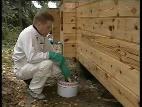 Защита деревянных фасадов антисептиком. Тikkurila