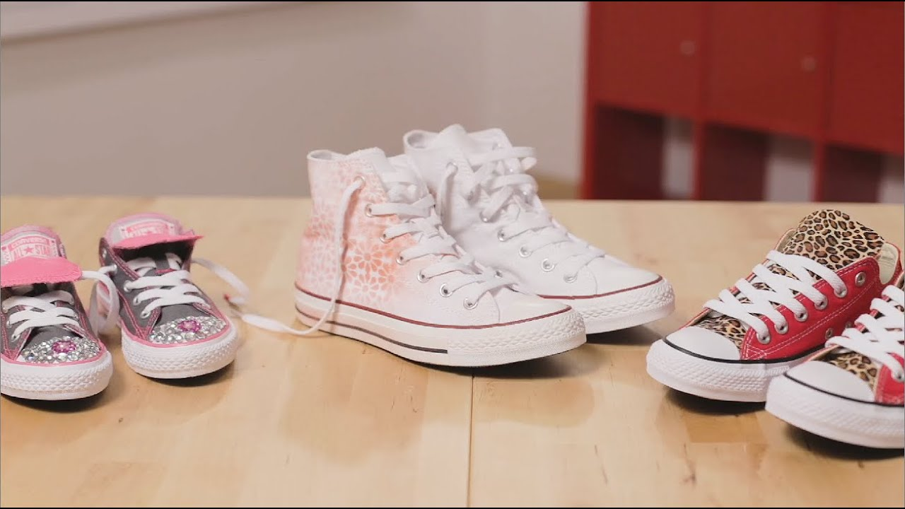 All Star Pink Converse With Crystal & White Ribbon Laces