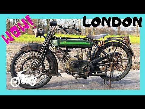LONDON, a rare WW1 BRITISH motorcycle at the ROYAL AIR FORCE (RAF) MUSEUM