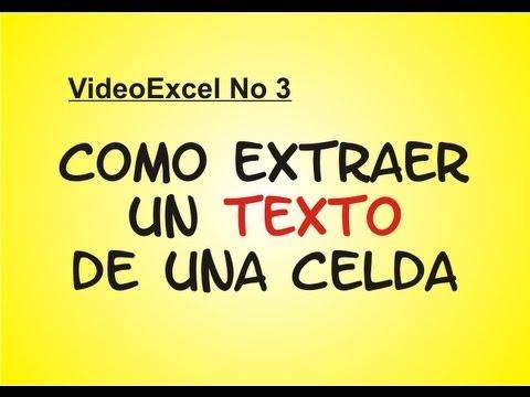 Como Extraer un texto de una celda-- TUTORIAL DE EXCEL 3 - YouTube