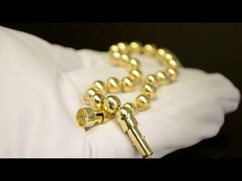 Браслет из жёлтого золота плетение Перлина (Шарики)