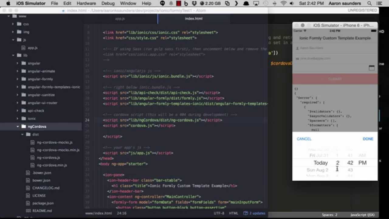 Ionic Framework Custom Formly Template using DatePicker