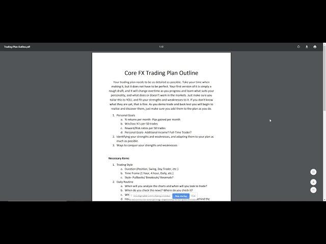 May 6th Webinar- Developing a Trading Plan