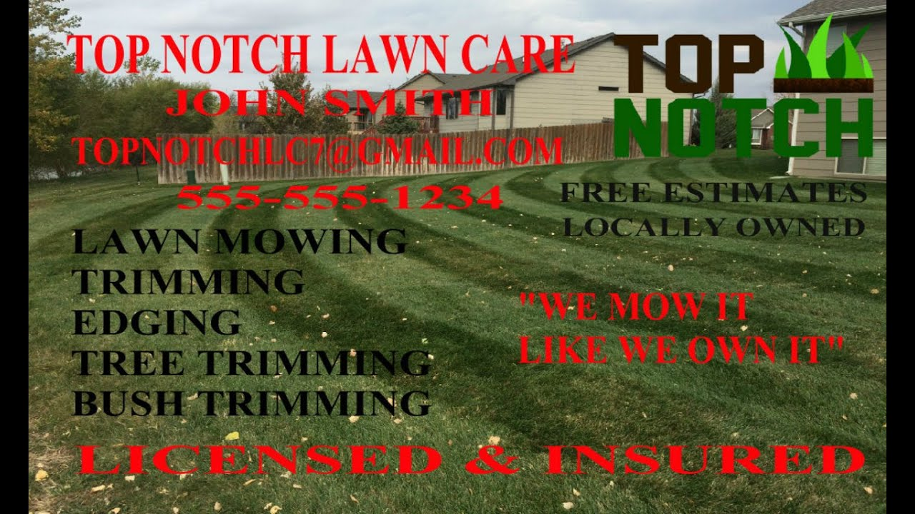 how to make lawn care flyers and postcards for free youtube - Lawn Service Business Cards