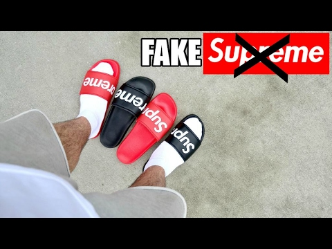 I BOUGHT FAKE SUPREME SANDALS - YouTube