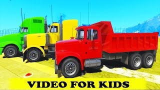 Big Dump Truck Colors and Tow Truck w Spiderman Party Cartoon for Kids w Nursery Rhymes Kids Songs